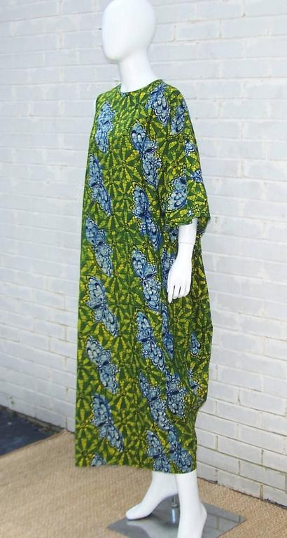 Women's Exotic 1960's Colorful Batik Caftan With Butterfly Motif  For Sale