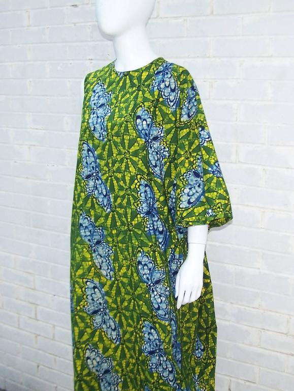 Exotic 1960's Colorful Batik Caftan With Butterfly Motif  For Sale 1