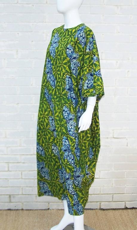 Exotic 1960's Colorful Batik Caftan With Butterfly Motif  For Sale 2