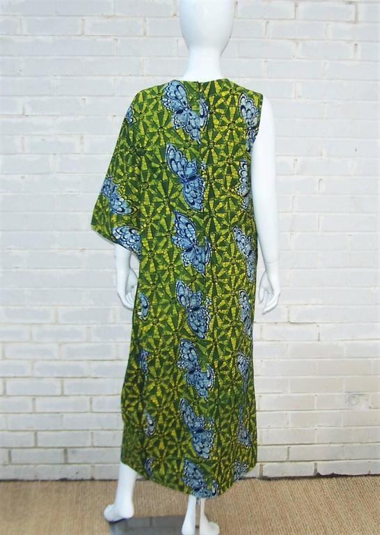 Exotic 1960's Colorful Batik Caftan With Butterfly Motif  For Sale 3