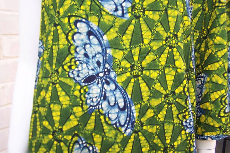 Exotic 1960's Colorful Batik Caftan With Butterfly Motif  For Sale 4