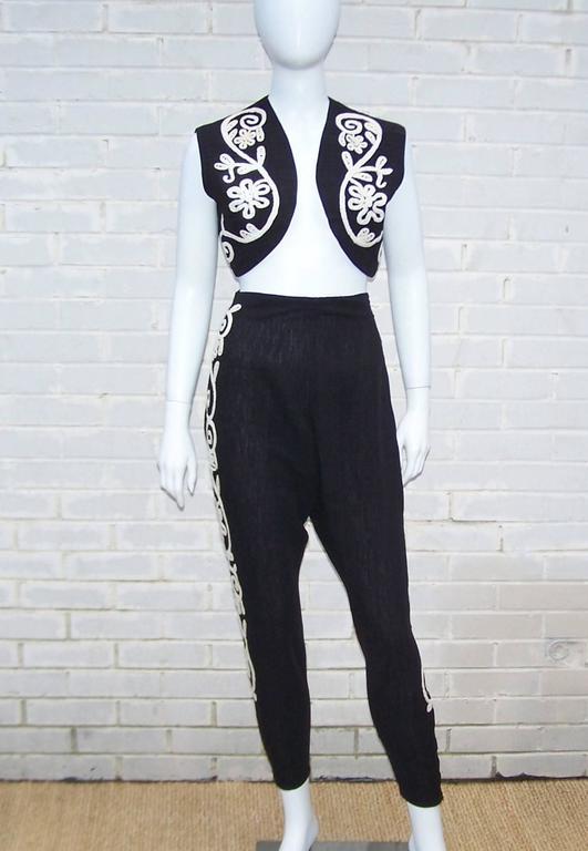 Whimsical 1950 S Flamenco Style Novelty Pant And Vest Set
