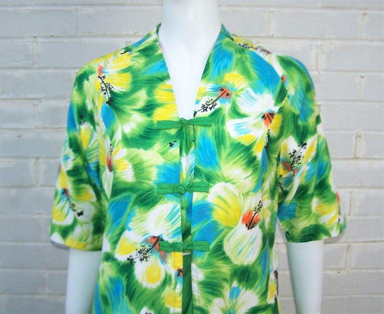 Green Tropical 1950's Kamehameha Hawaiian Floral Cotton Dress  For Sale