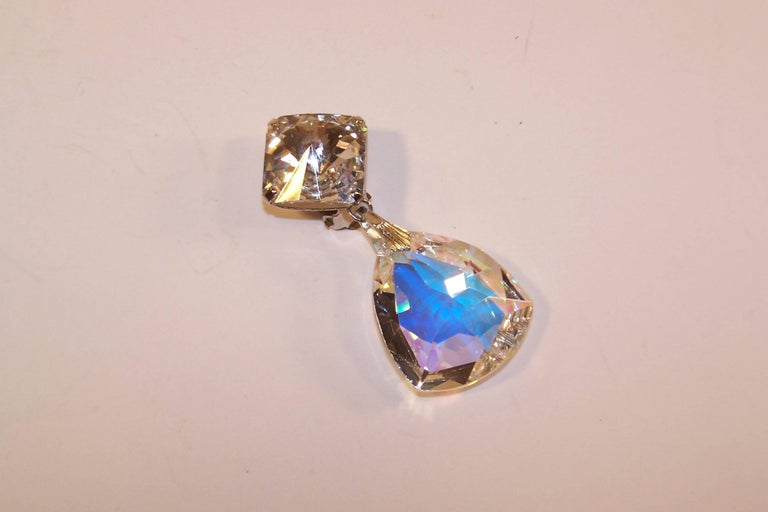 Glam 1980 S Crystal Rhinestone Statement Earrings For Sale