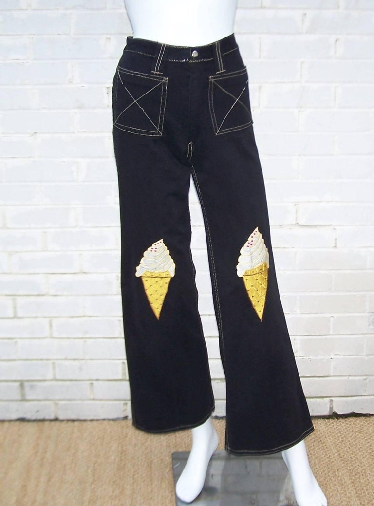 studded 1970 u0026 39 s bell bottom suit with ice cream cone appliques for sale at 1stdibs