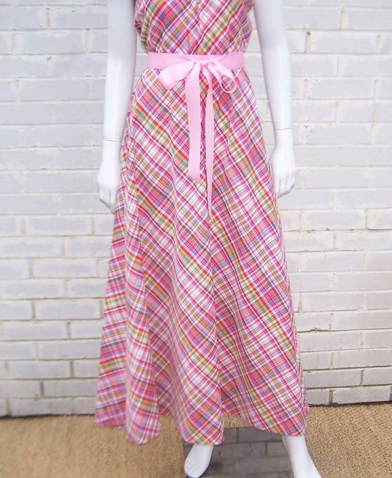 Cute 1970's Clovis Ruffin Cotton Plaid Maxi Dress In Excellent Condition For Sale In Atlanta, GA