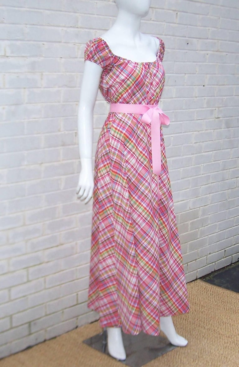 Women's Cute 1970's Clovis Ruffin Cotton Plaid Maxi Dress For Sale