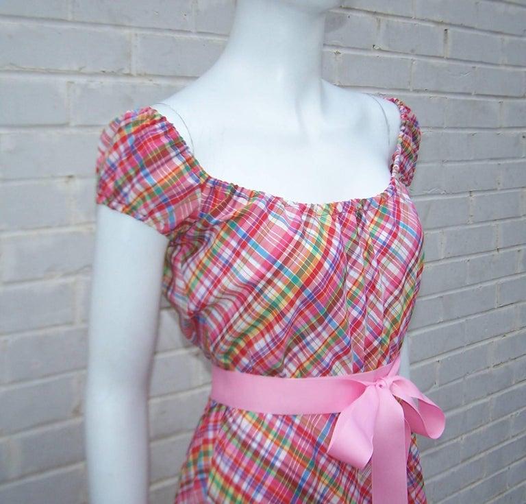 Cute 1970's Clovis Ruffin Cotton Plaid Maxi Dress For Sale 1
