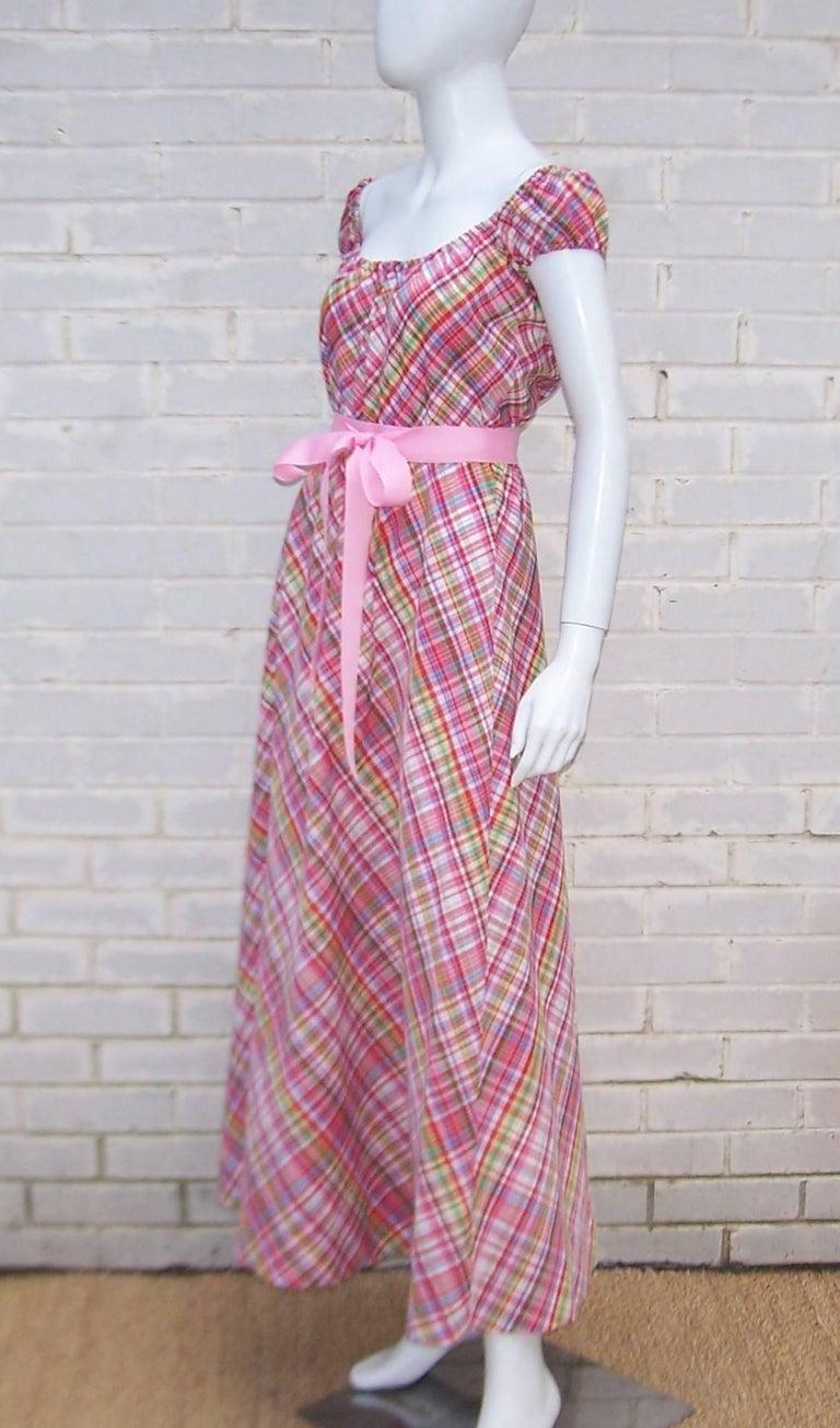 Cute 1970's Clovis Ruffin Cotton Plaid Maxi Dress For Sale 2