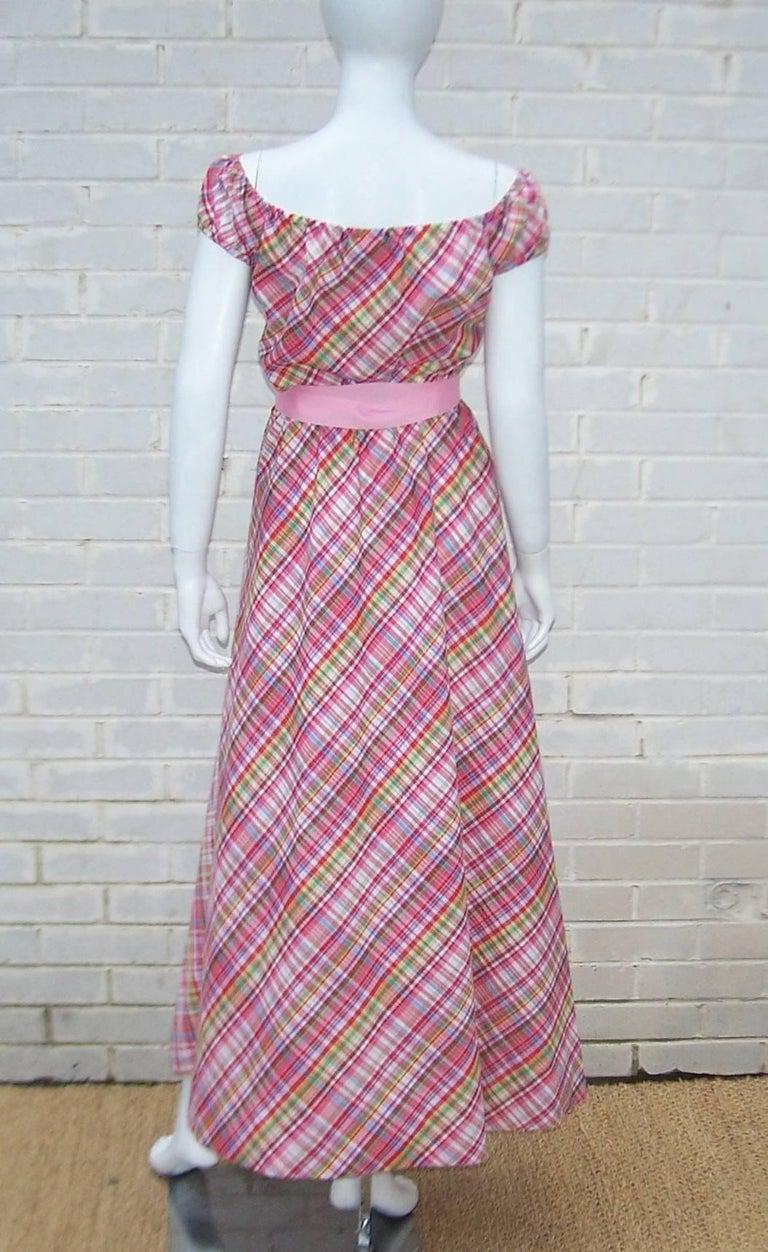 Cute 1970's Clovis Ruffin Cotton Plaid Maxi Dress For Sale 3