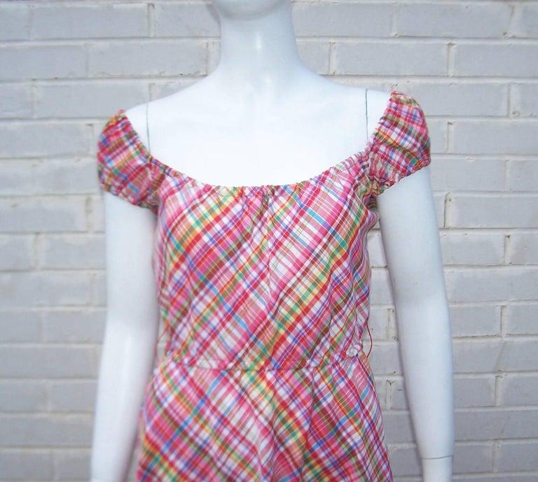 Brown Cute 1970's Clovis Ruffin Cotton Plaid Maxi Dress For Sale