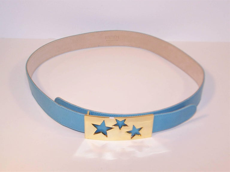 Gray 1980's Escada Star Gold Tone Buckle & Sky Blue Leather Belt For Sale