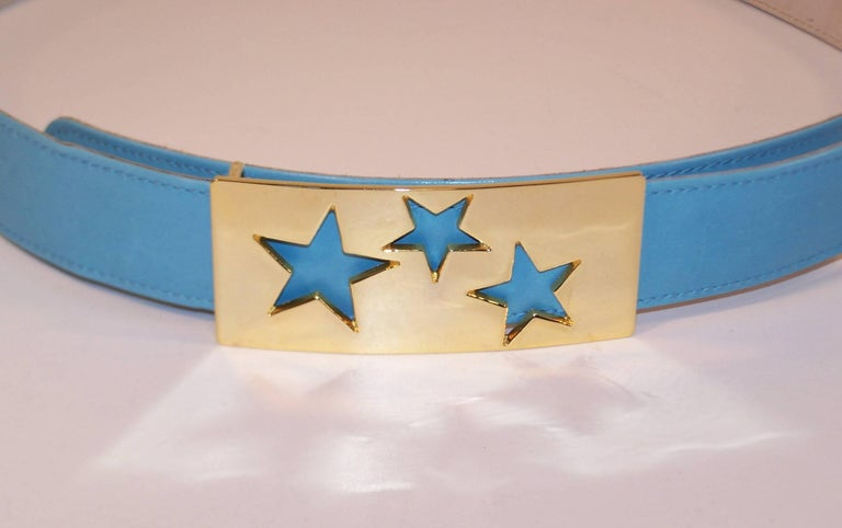 1980's Escada Star Gold Tone Buckle & Sky Blue Leather Belt In Excellent Condition For Sale In Atlanta, GA