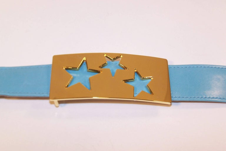 Women's 1980's Escada Star Gold Tone Buckle & Sky Blue Leather Belt For Sale