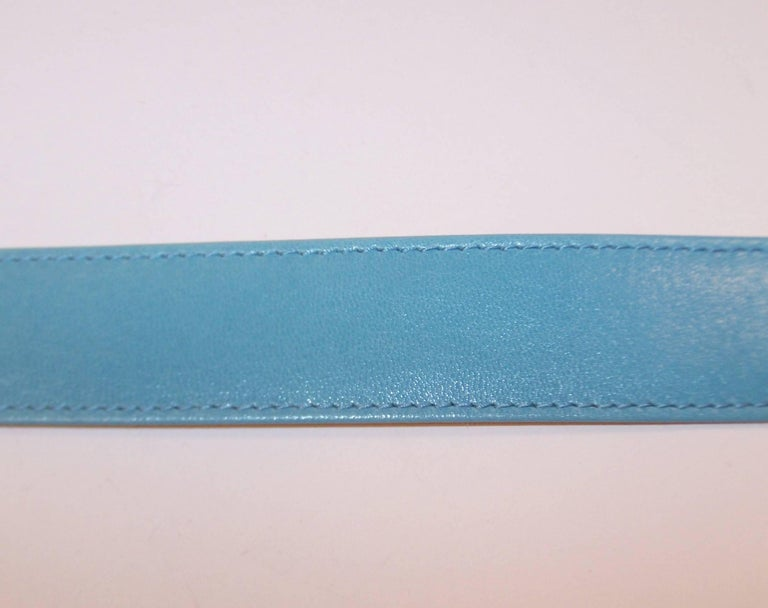 1980's Escada Star Gold Tone Buckle & Sky Blue Leather Belt For Sale 1