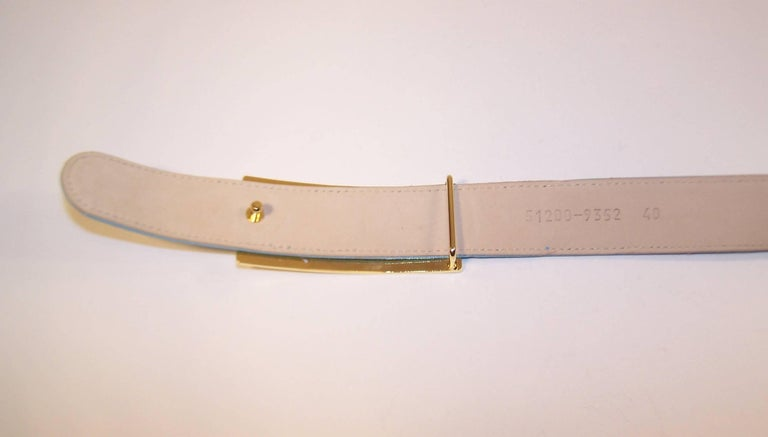 1980's Escada Star Gold Tone Buckle & Sky Blue Leather Belt For Sale 2