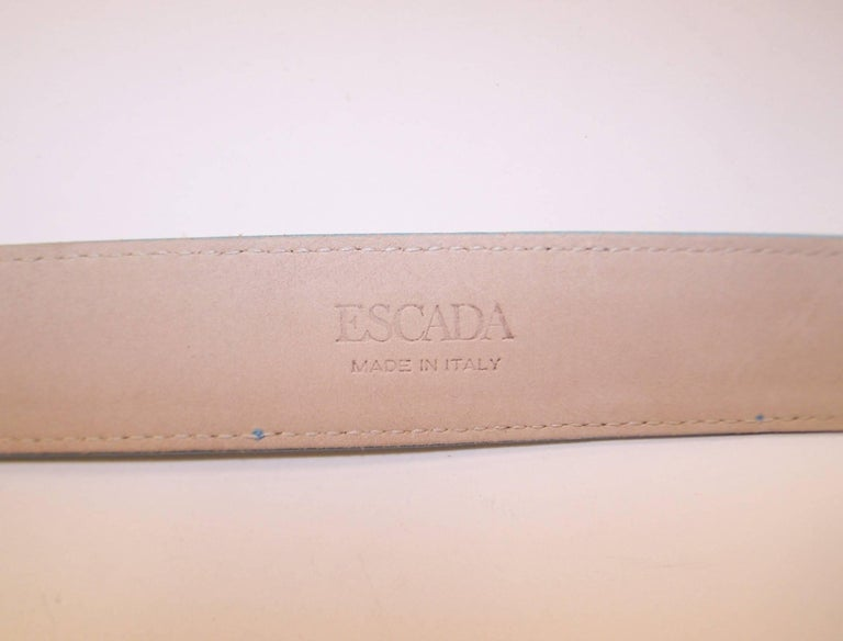 1980's Escada Star Gold Tone Buckle & Sky Blue Leather Belt For Sale 4