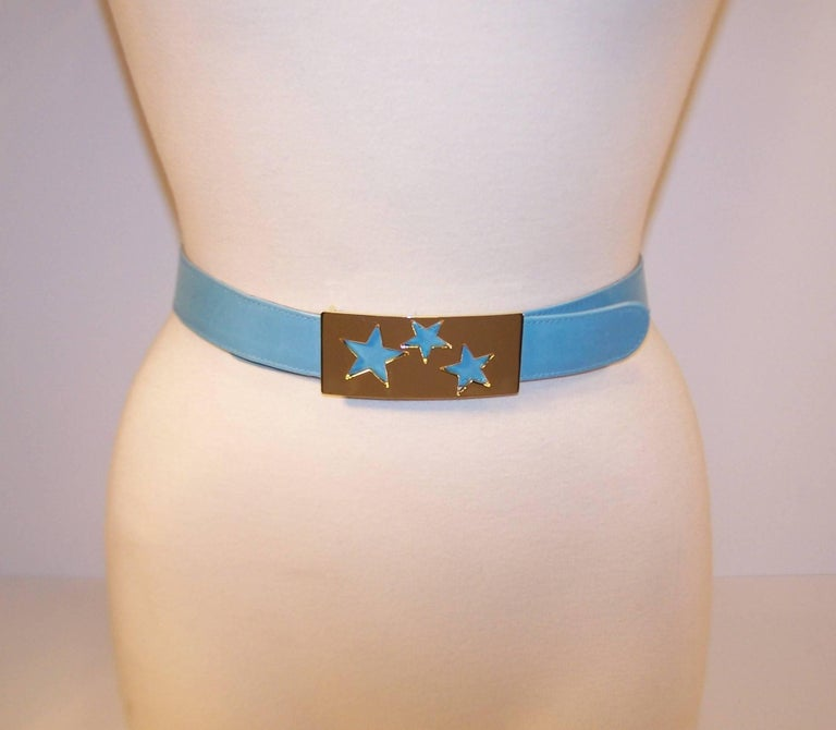 1980's Escada Star Gold Tone Buckle & Sky Blue Leather Belt For Sale 5