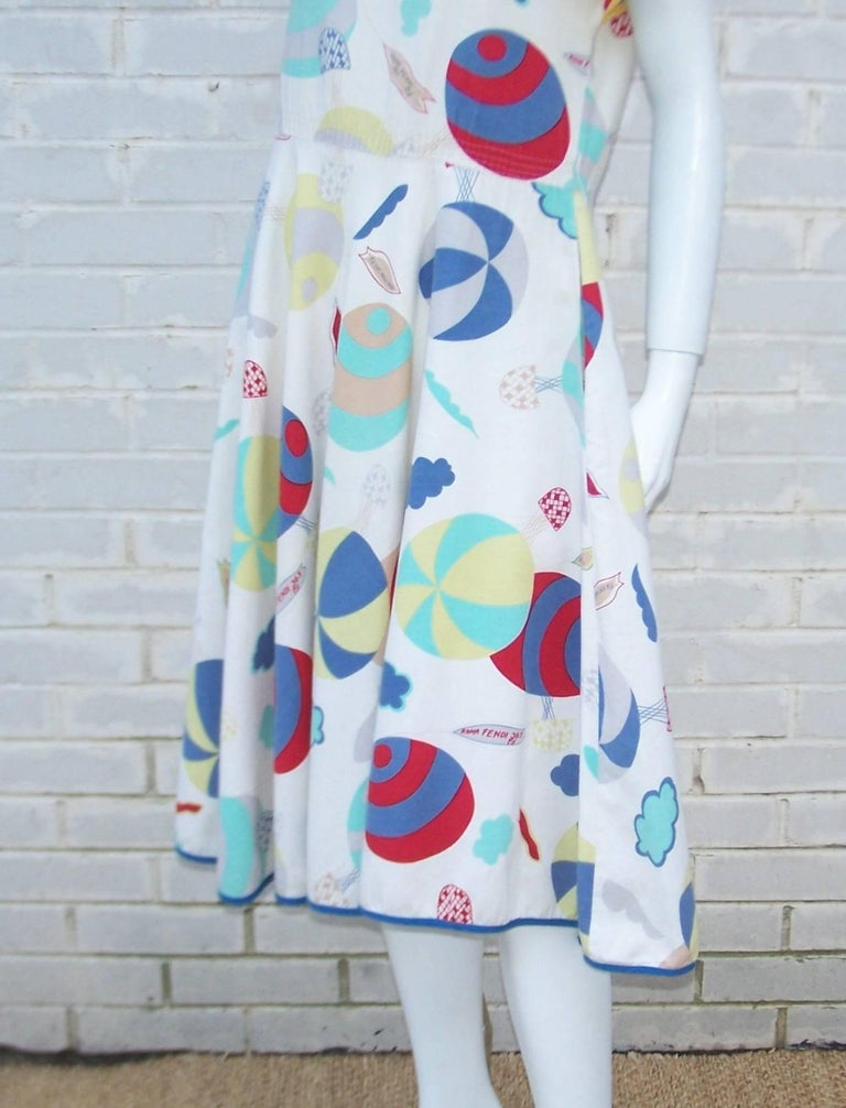 Whimsical 1970's Cotton Day Dress With Hot Air Balloon Logo Print For Sale 1