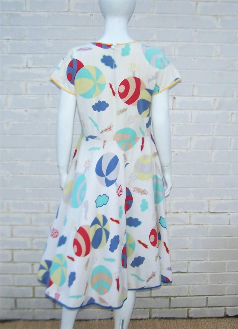 Whimsical 1970's Cotton Day Dress With Hot Air Balloon Logo Print For Sale 2
