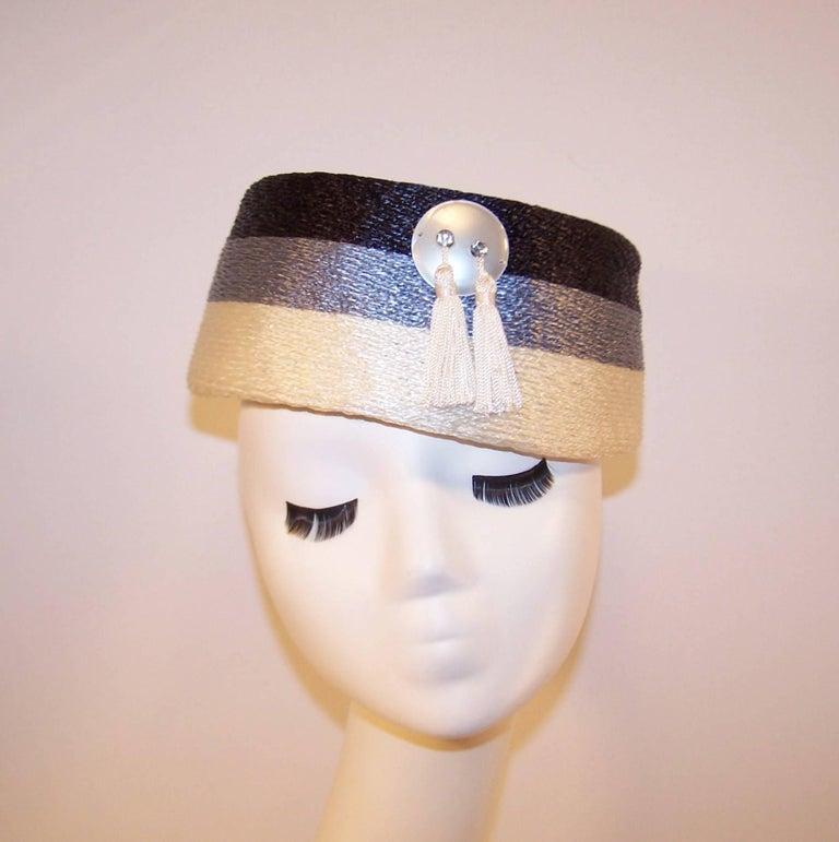 Stylish 1950's Evelyn Varon Blue Straw Hat With Tassels 2