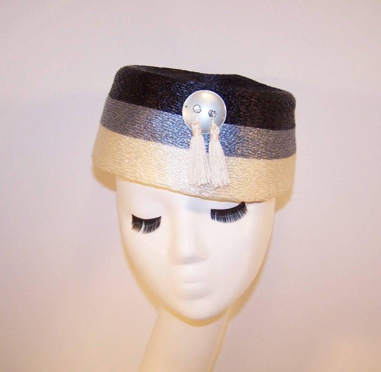 Stylish 1950's Evelyn Varon Blue Straw Hat With Tassels 4
