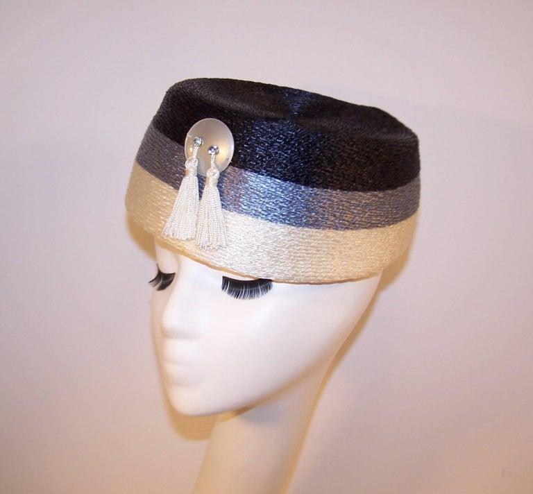 Stylish 1950's Evelyn Varon Blue Straw Hat With Tassels 5