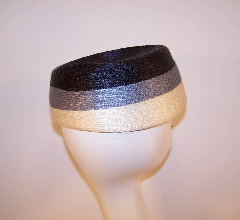 Stylish 1950's Evelyn Varon Blue Straw Hat With Tassels 7