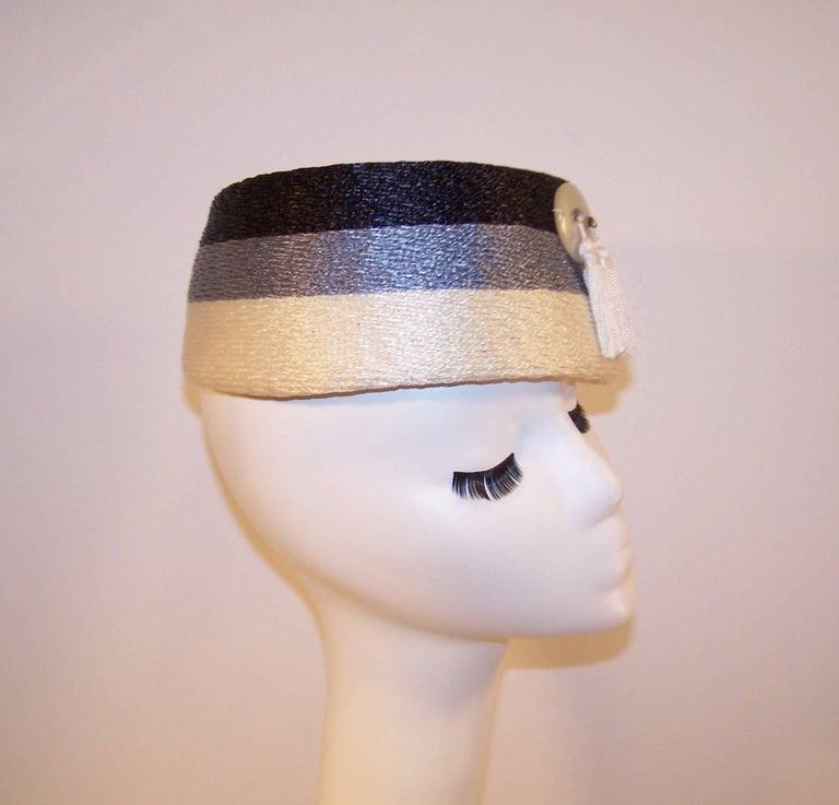 Stylish 1950's Evelyn Varon Blue Straw Hat With Tassels 8