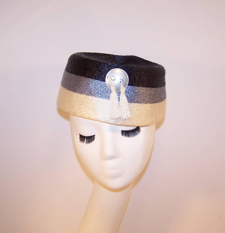 Stylish 1950's Evelyn Varon Blue Straw Hat With Tassels 9