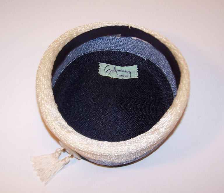 Stylish 1950's Evelyn Varon Blue Straw Hat With Tassels 10