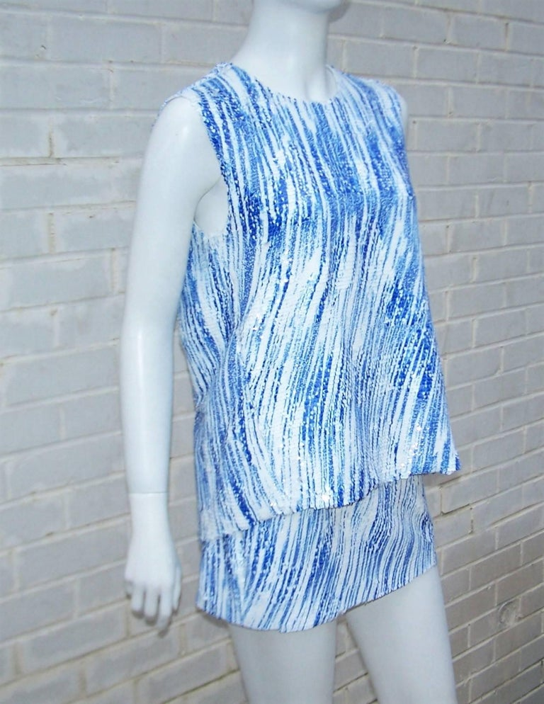 Amazing Kenzo 'High Waves' Micro Mini Sequin Two Piece Dress Set In Excellent Condition For Sale In Atlanta, GA