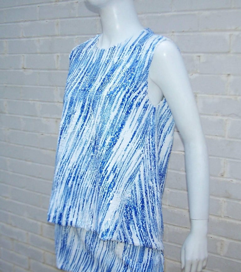 Women's Amazing Kenzo 'High Waves' Micro Mini Sequin Two Piece Dress Set For Sale