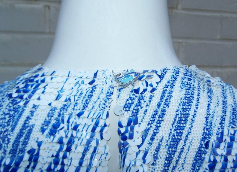 Amazing Kenzo 'High Waves' Micro Mini Sequin Two Piece Dress Set For Sale 3