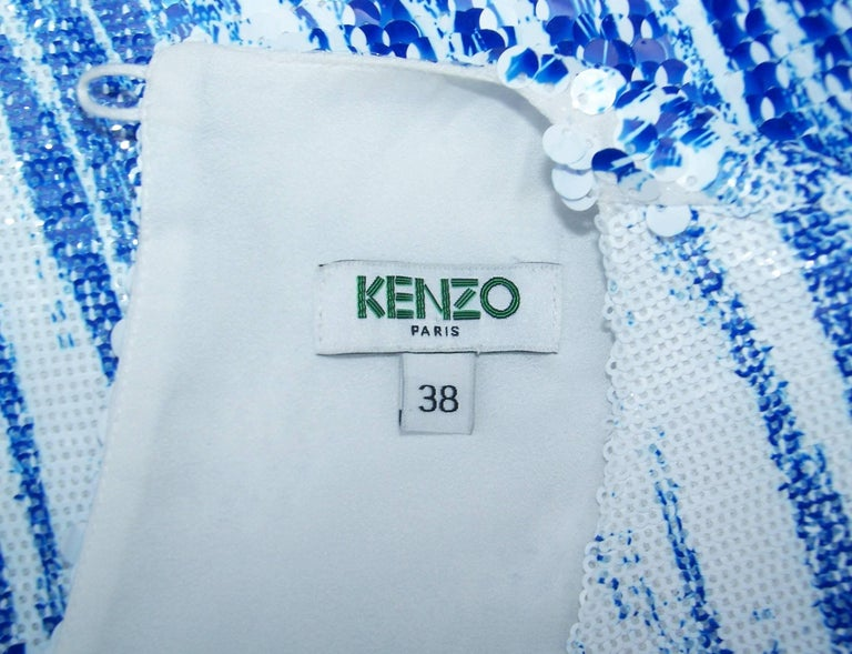 Amazing Kenzo 'High Waves' Micro Mini Sequin Two Piece Dress Set For Sale 5