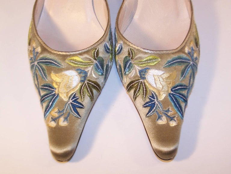 Emma Hope Embroidered Satin Kitten Heel Shoes Sz 38 1/2 4