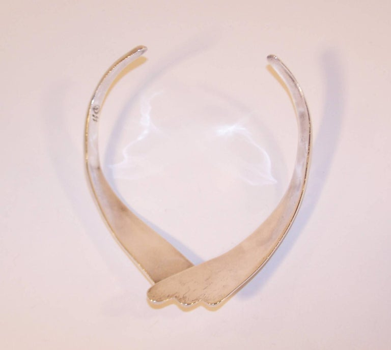 Modernist 1980's Dulce Plateros Taxco Sterling Silver Collar Necklace For Sale 3