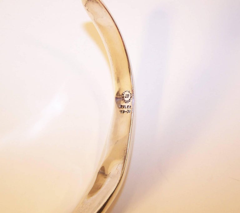 Modernist 1980's Dulce Plateros Taxco Sterling Silver Collar Necklace For Sale 6