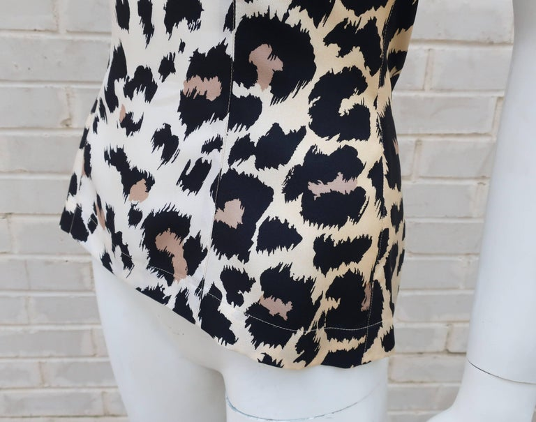 Wild C.1990 Thierry Mugler Silk Animal Leopard Print Shell Top For Sale 1