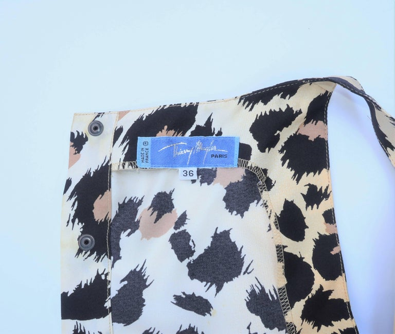 Wild C.1990 Thierry Mugler Silk Animal Leopard Print Shell Top For Sale 4
