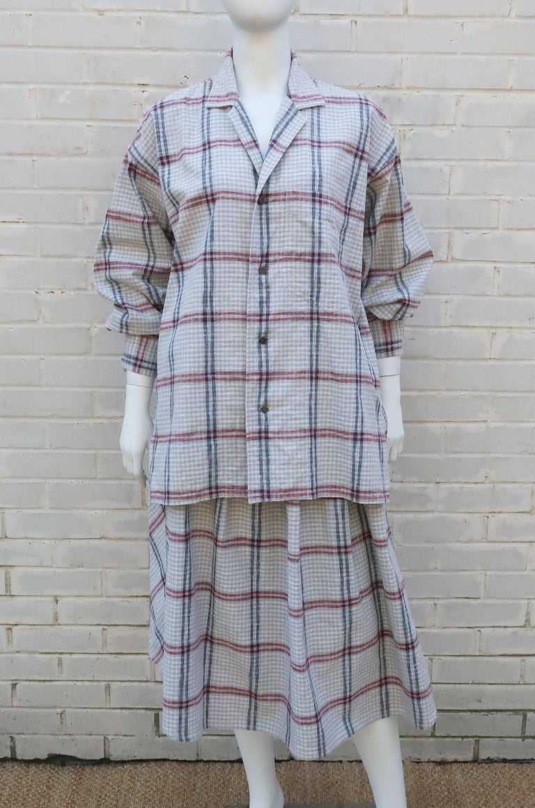 Gray C.1980 Issey Miyake Plantation Deconstructed Skirt & Top Dress Ensemble For Sale
