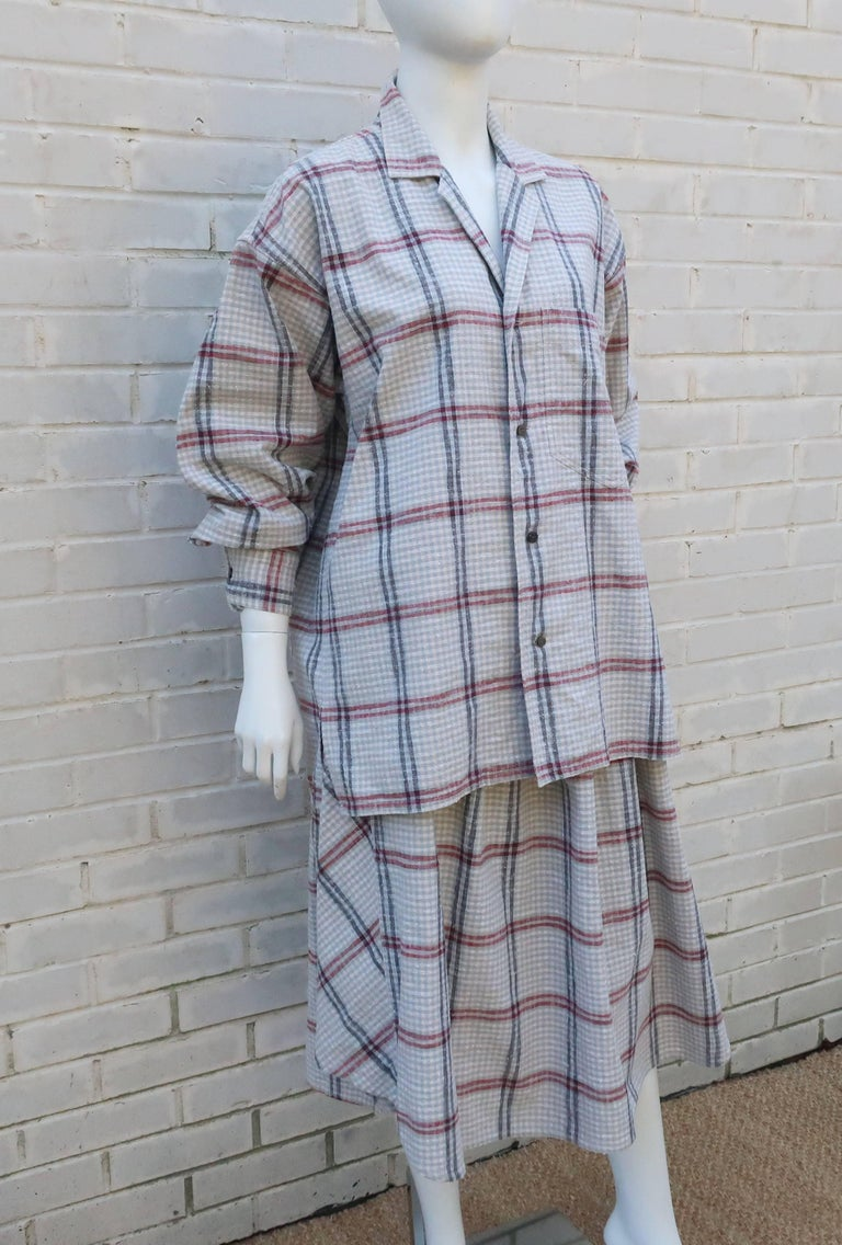 C.1980 Issey Miyake Plantation Deconstructed Skirt & Top Dress Ensemble In Excellent Condition For Sale In Atlanta, GA