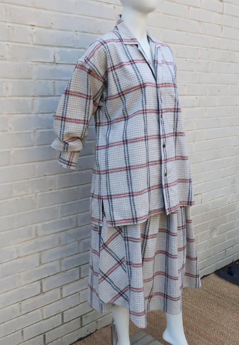 Women's C.1980 Issey Miyake Plantation Deconstructed Skirt & Top Dress Ensemble For Sale