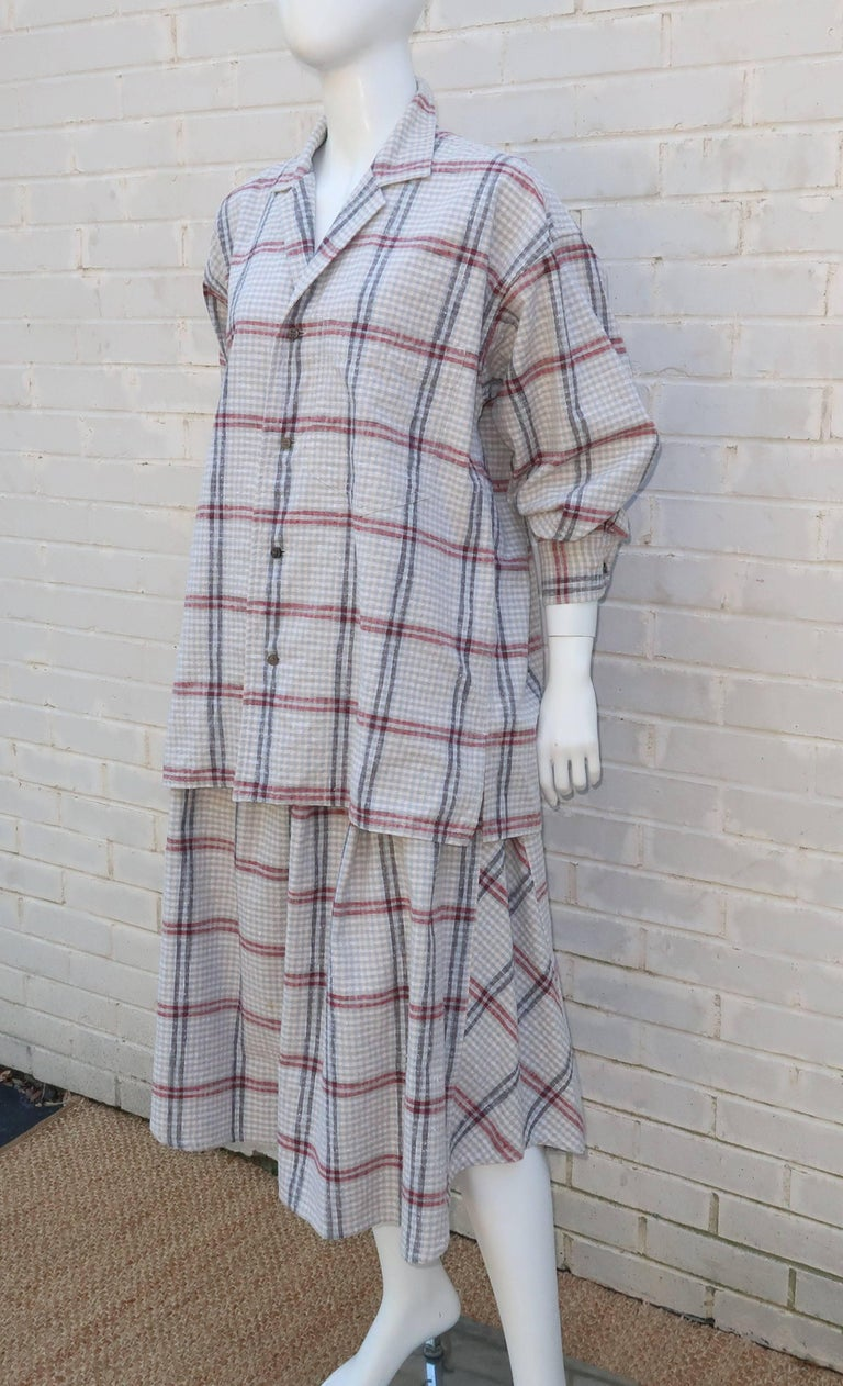 C.1980 Issey Miyake Plantation Deconstructed Skirt & Top Dress Ensemble For Sale 1