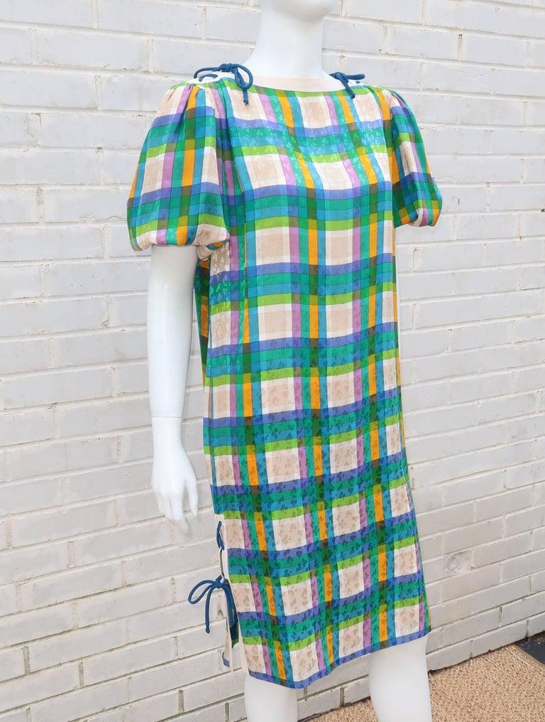 Blue Lovely Laces 1970's Ted Lapidus Silk Jacquard Plaid Dress For Sale