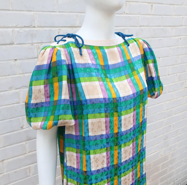 Lovely Laces 1970's Ted Lapidus Silk Jacquard Plaid Dress In Excellent Condition For Sale In Atlanta, GA