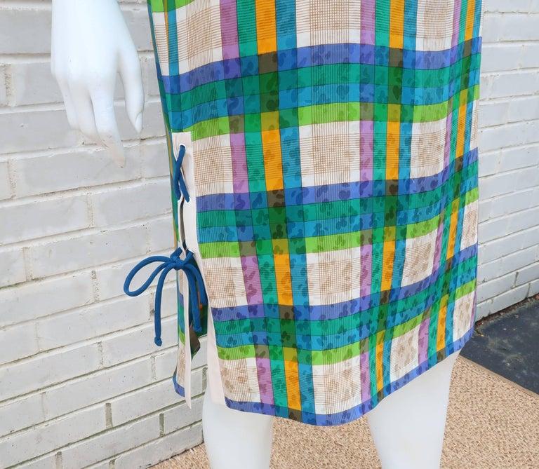 Women's Lovely Laces 1970's Ted Lapidus Silk Jacquard Plaid Dress For Sale