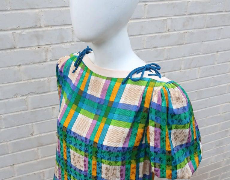 Lovely Laces 1970's Ted Lapidus Silk Jacquard Plaid Dress For Sale 1