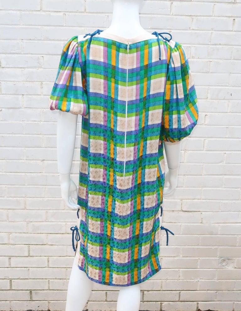 Lovely Laces 1970's Ted Lapidus Silk Jacquard Plaid Dress For Sale 2