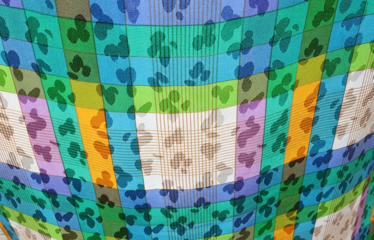 Lovely Laces 1970's Ted Lapidus Silk Jacquard Plaid Dress For Sale 4